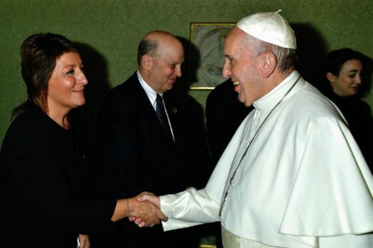 Caritas Pro Vitae Gradu Charitable Trust's representative, Ariane Slinger meeting Pope Francis